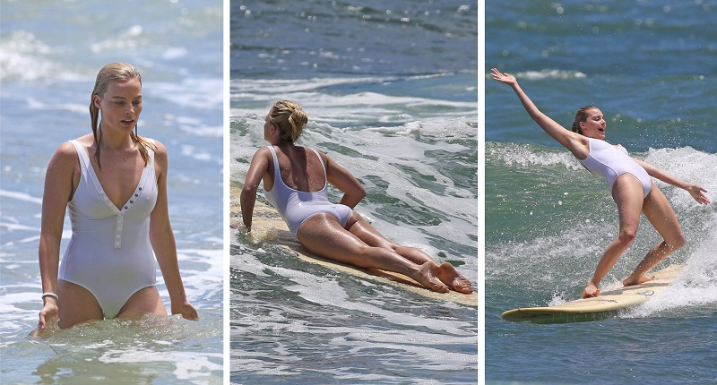 7 Famous Beauties Surfing In Sexy Bikinis_Margot Robbie